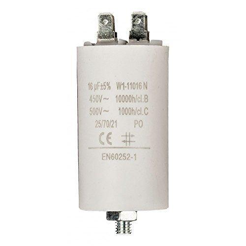 CABLEPELADO Condensador de arranque para motor electrico 16.0 uF 450 VAC Blanco