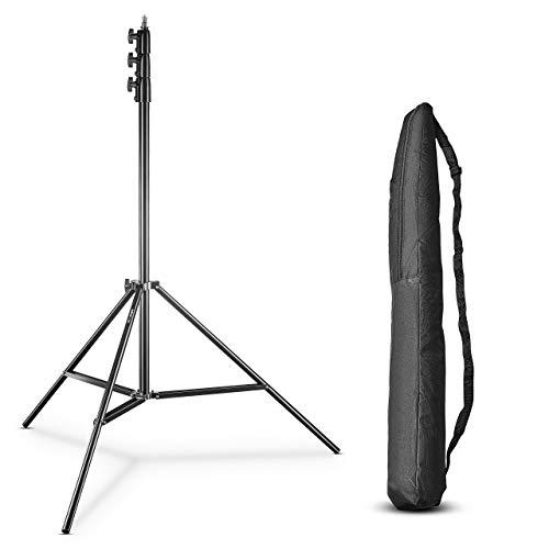 Walimex pro AIR 355 Lampenstativ - Lichtstativ mit Luftfederung, Höhe max 355 cm, 8 kg Traglast, sehr hoch und stabil, Aluminium, Leuchtenstativ für Fotografie Studio Outdoor