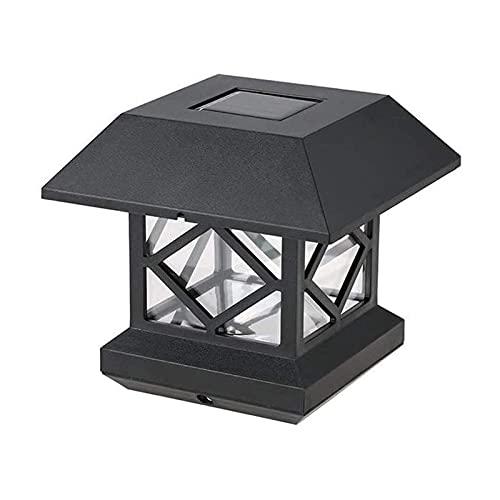 Lámpara de Jardín Luz Del Pilar Luces De Poste Solares LED Jardín Al Aire Libre Impermeable Cuadrado Negro Lámpara De Tapa De Poste De Paisaje Para Postes De Madera 4x4, Cubierta, Patio