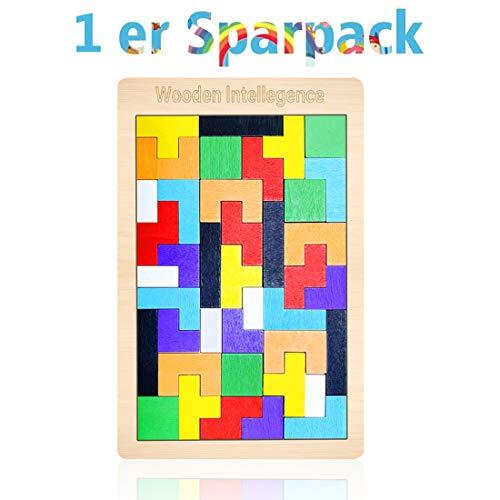 Tetris Holz Tangram Kinder Pädagigisches Spiel bunt Holzpuzzle geometrisch Formen mit Box Knobelspiel