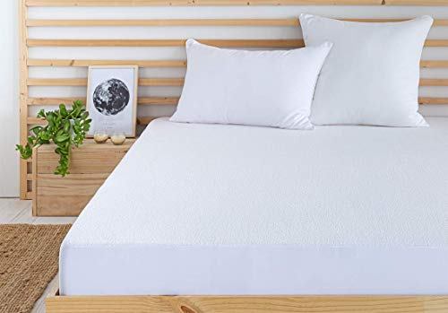 Todocama - Protector de colchón/Cubre colchón Ajustable, de Rizo, Impermeable y Transpirable. (Todas Las Medidas Disponibles). (Cama 150 x 190/200 cm)