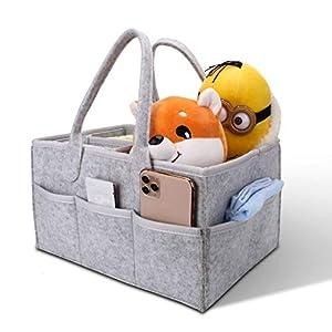 Baby Diaper Caddy Organizer – Baby Shower Basket, Large Nursery Storage Bin for Changing Table, Car Travel – Newborn Registry Pack Every Baby Essentials – Grey (33 x 23 x18 cm)