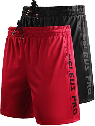 """Neleus Men's 7"""" Workout Running Shorts with Pockets,6056,2 Pack,Black,Red,US M,EU L"""