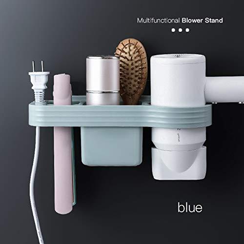 Soporte para secador de Pelo Manos Libres Caja de Almacenamiento Estante de rizador para baño Organizador Estante de Almacenamiento Conjunto de Accesorios de baño Hogar - Azul A, r1
