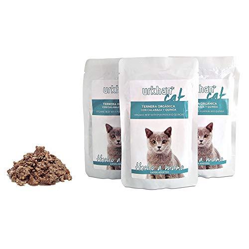 EVOM Comida húmeda, ecológica, para Gatos Adultos, Urkhan Bio, hipoalergénica, Ternera orgánica (10x100g)