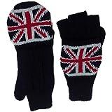 Mitaines avec moufles amovibles attache velcro isolation thermique thinsulate chaudes intérieur doublé en matière polaire drapeau anglais union jack E19197