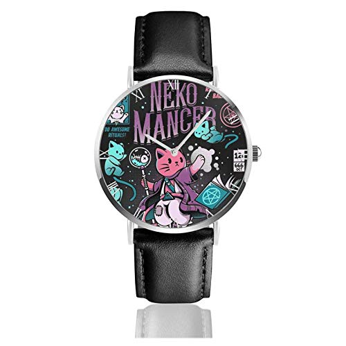 Relojes Anolog Negocio Cuarzo Cuero de PU Amable Relojes de Pulsera Wrist Watches Nekomancer