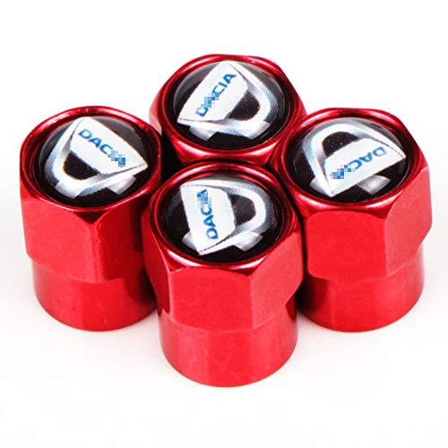 WUHULA 4pcs Auto Reifen Ventil Kappen, für Dacia Duster Logan Sandero 2 Mcv, Rad Reifen Staubschutzkappe Mit Logo Abzeichen, Auto Styling Dekoration