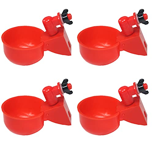DoubleWood Large Automatic Filling Poultry Waterer Cups Chicken Water Nipple Cup Waterer Kit for Poultry (Pack of 4)