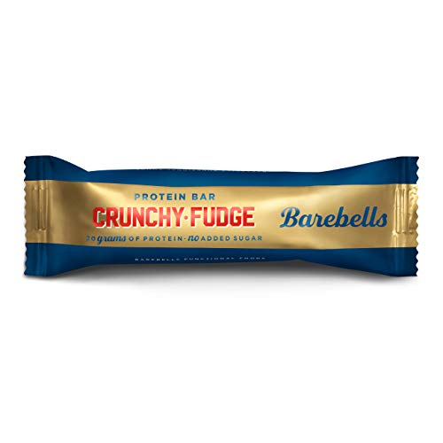 Barebells High Protein and Low Carb Bar, 12 x 55 g Low Sugar Snack Bar (Crunchy Fudge)