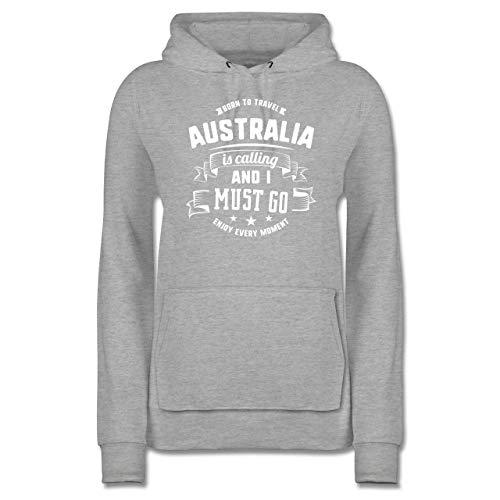 Länder Fähnchen Fahnen und Flaggen - Australia is Calling and I Must go Weiß - M - Grau meliert - JH001F_Hoodie_Damen - JH001F - Damen Hoodie und Kapuzenpullover für Frauen