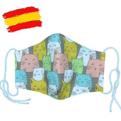 Mascarilla higiénica infantil homologada UNE 0065 bebé 3-4 años con filtro fijo lavable_marca: Brissa España
