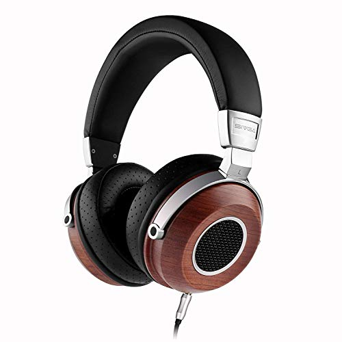 SIVGA SV004 Hi-Fi Wood Over-Ear Stereo Open Back Wired Headphones, Built-in Mic, Soft Earmuffs with Carrying Case (Rosewood)