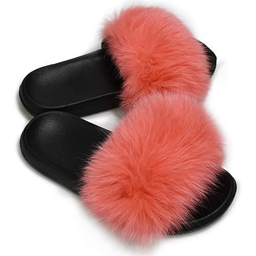 AONEGOLD Hausschuhe Damen Schlappen mit Fell Pelz Sandalen Weiche Pantoffel-Flipflops Pantoletten Sommer Flaumiger Slipper (Pink,40/41 EU)