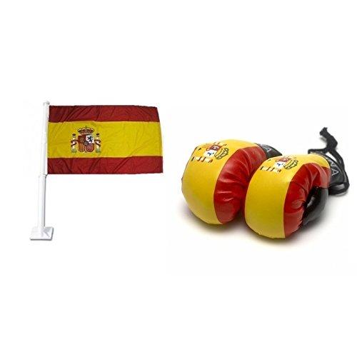 Spanien Car Flag & Mini Boxhandschuhe Combo Pack