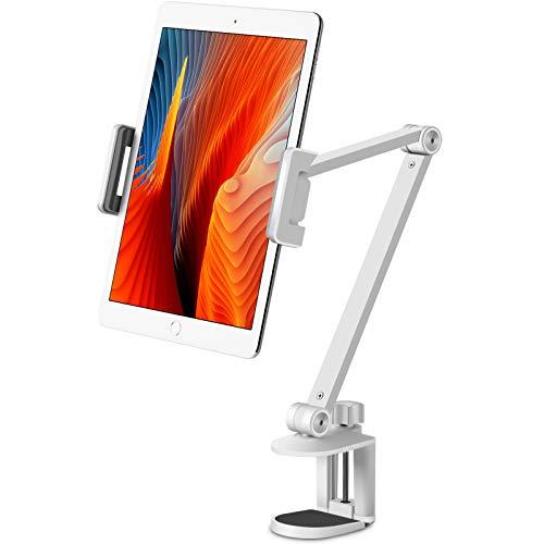 Viozonタブレット ス タンド ホルダー マウ ント、360°回転可能、 ⾼さと⾓度の調整可 能、ハイグレードアル ミニウム合⾦アーム、 4.5-13インチの携帯電 話とタブレット、 iPhone、iPadに適⽤