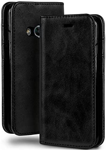 moex Booklet in Lederoptik - Kartenfächer und Aufstellfunktion kompatibel mit Samsung Galaxy Xcover 3 | Eleganter 360 Grad Vollschutz, Schwarz