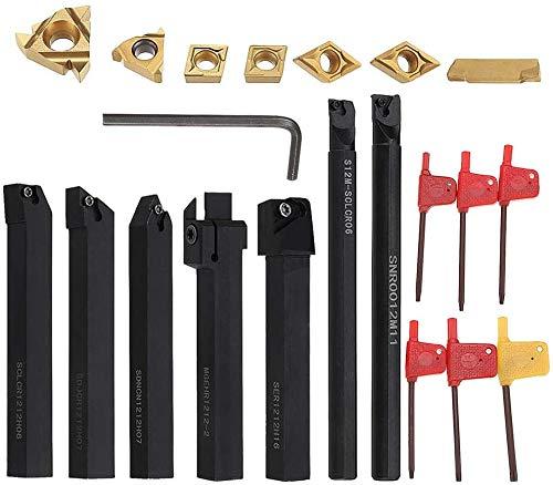 21 Pezzi Tornio Turning Tool Multifunzione Kit, Inserti Titolari Bar Alesatore per Utensili di Tornitura con Inserti in Carburo (12mm)