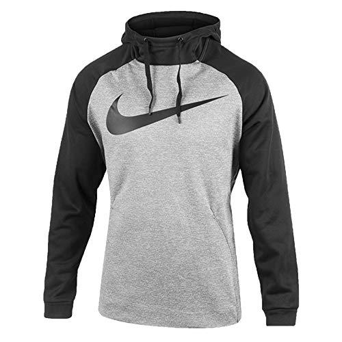 Nike Mens Therma Swoosh Essential Pull Over Hoodie Grey Heather/Black 931991-063 Size Large