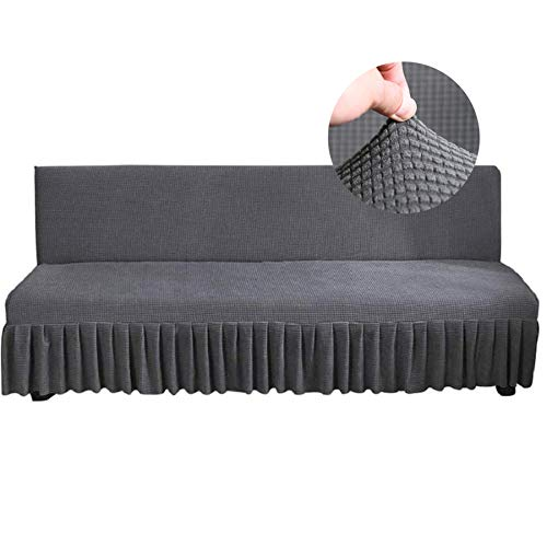 Armless Futon Cover with Skirt Ruffled Stretch Futon Sofa...