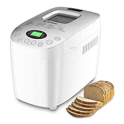 MOOSOO MAX 3.5LB Bread Machine, Automatic Bread Maker With Gluten-Free Setting and Homemade Function, LED Display, Nonstick Pan, 3 Crust Color & Keep Warm, 8 Deluxe Accessory kits and Recipe,850W
