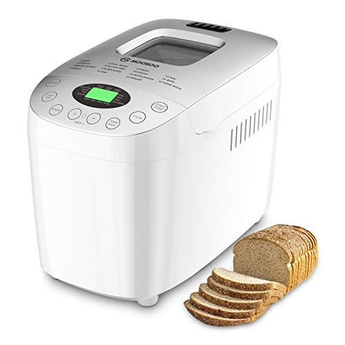 MOOSOO MAX 35LB Bread Machine 15in1 Automatic Bread Maker With GlutenFree and Homemade Function 850W HighPower Motor DoublePaddles Mixing Nonstick Ceramic Pan Time Delay amp Keep Warm 6 Deluxe Accessory kits View Window