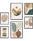 Heimlich Cuadros Decorativos - SIN Marcos -Decoración Colgante para Paredes de Sala, Dormitorios y Cocina - Arte Mural - 2 x A3 & 4 x A4-30x42 & 21x30   » Plantas Monstera Pintura «