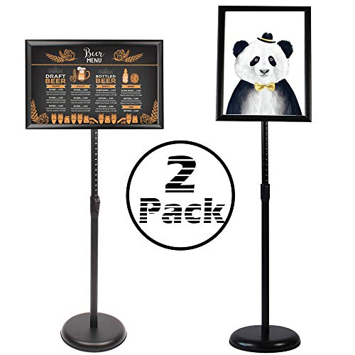 Altratech Sign Holder 2 Pack Aluminum 8.5� X 11� Lobby Sign Snap-Open Frame Sign Holder Stand with Both Vertical and Horizontal View for Store Display, Exhibition (Black?