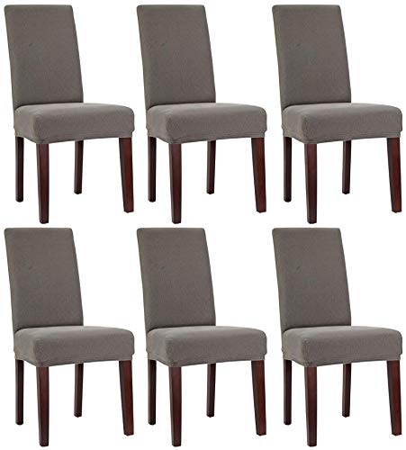 Bellboni Stuhlhussen, strapazierfähige, hochwertige Stuhlbezüge aus starkem Stoff, Stuhlüberzüge, Hussen passend für viele Stuhlgrößen elastisch, bi-Elastic, 6 Pack, Elastic Grey/grau
