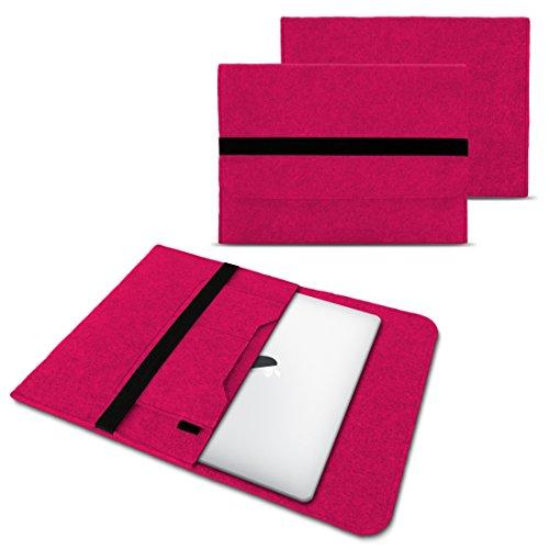 NAUC Laptop Tasche Sleeve Hülle Schutztasche Filz Cover für Tablets & Notebooks Farbauswahl kompatibel für Samsung Apple Asus Medion Lenovo, Farben:Pink, Größe:12.5-13.3 Zoll