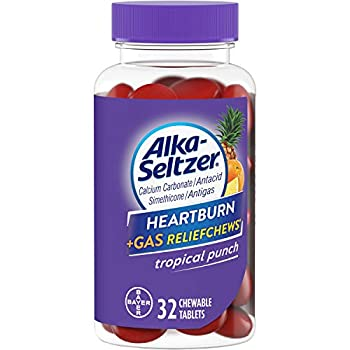 Alka-Seltzer Heartburn + Gas ReliefChews - Relief of Heartburn Gas Acid Indigestion and Sour Stomach - Tropical Punch Flavors - 32 Count