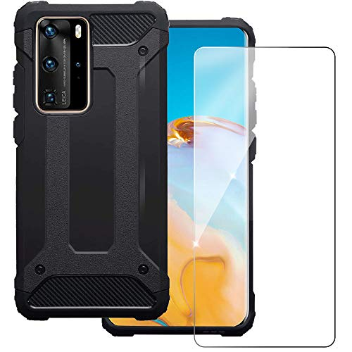 KZIOACSH Tough Armor Case for Huawei P40 PRO,Dual Layer TPU + PC Rugged Cover Case with Tempered Glass Screen Protector for Huawei P40 PRO [ Reinforced Protection]