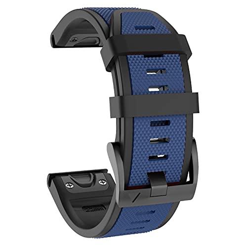 ISABAKE 22mm Correa de reloj de silicona suave , correa deportiva de repuesto Quickfit para Fenix 5 / Fenix 5 Plus / Fenix 6 / Fenix 6 Pro / Forerunner 935 / Approach S60 / Quatix 5 Smartwatch Band