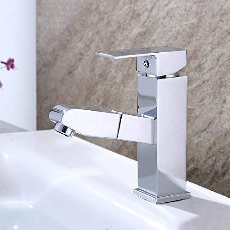 ZHAS Pull-Out-Stil Becken Wasserhahn Bad Becken Einloch-Wasserhhne Keramik Grünikal mit Auslauf Wasserhahn (Gre  Niedrig)