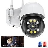 HD 5MP WiFi IP Cámara de Vigilancia Exteriores PTZ Cámara Seguimiento Automático Alarma por Voz Alerta de APP Visión Nocturna en Color Detección de Movimiento Impermeable ICSEE(Cámara+Tarjeta-SD-128G)