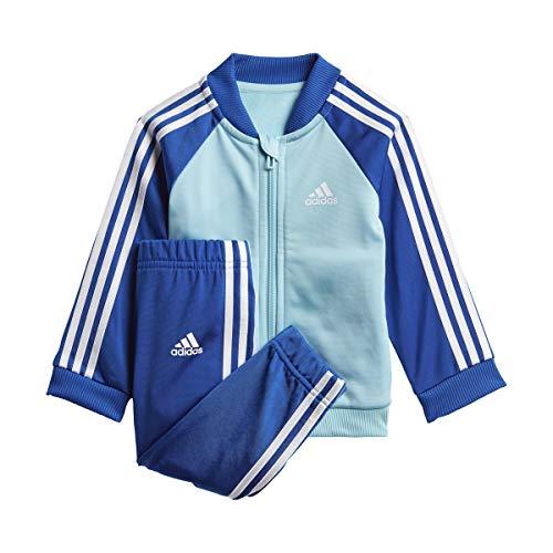 adidas GN3946 I 3S TS TRIC Sport Set Unisex-Baby Top:Hazy Sky/White Bottom:Team Royal Blue/White 1218