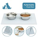 PetTec Futtermatte, rutschfeste Unterlage 60 x 40cm für Futternapf/Hundenapf aus Silikon mit Rand, Antirutschmatte, für große & kleine Hunde, Katzen und Haustiere, abwaschbar/wasserabweisend