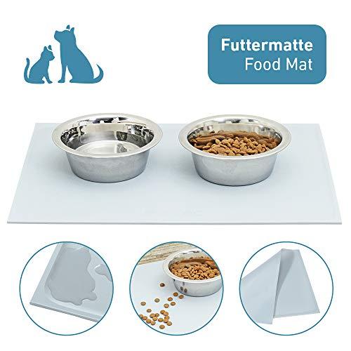 PetTec Futtermatte, Rutschfeste Unterlage 46 x 34cm für Futternapf/Hundenapf aus Silikon mit Rand, Antirutschmatte, für große & kleine Hunde, Katzen und Haustiere, abwaschbar/wasserabweisend