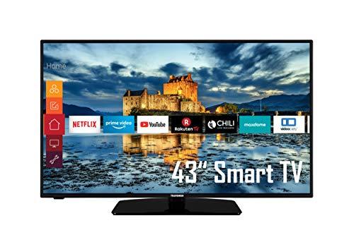Telefunken D43F554X1CW 43 Zoll Fernseher (Smart TV, Prime Video / Netflix / YouTube, Full HD, Triple-Tuner) [Modelljahr 2021], Schwarz