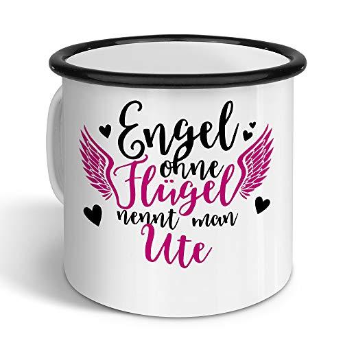 printplanet - Emaille-Tasse mit Namen Ute - Metallbecher mit Design Engel - Nostalgie-Becher, Camping-Tasse, Blechtasse, Farbe Schwarz, 400ml