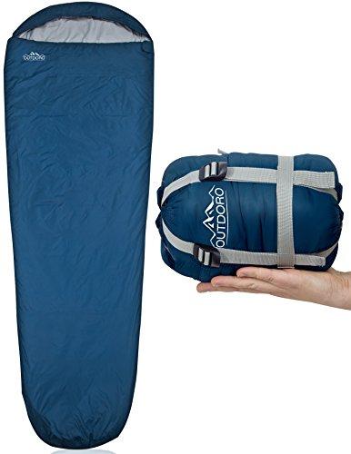 Outdoro ultraleichter Schlafsack 800g - kleines Packmaß - leicht, dünn und warm - Idealer Sommerschlafsack, Mumienschlafsack für Herren, Damen, Erwachsene (blau)