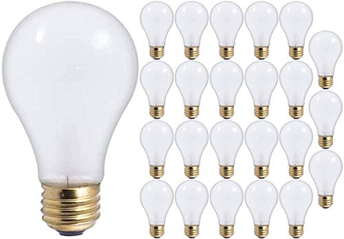 6O Watt A19 Medium Base 130 Volt Rough Service 5000 Hour Incandescent - Standard Household E26 Bulb (Frost, 24 Pack)