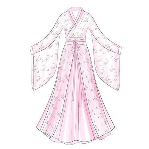 XIAOXIAO Hanfu Chinese Traditional Hanfu - Falda estampada para mujer, disfraz de hada, disfraz de hada, para cosplay y espectáculo diario