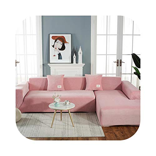 Velvet Fabric,Fits Couch, Armchair, Loveseat or Chaise Lounge Purchase Two Separate Covers to Cover Your Whole L-Shaped Sofa-Pink-2-seater 145-185cm