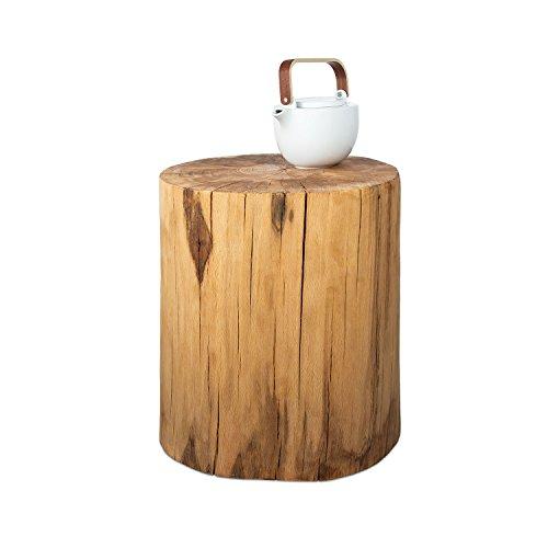 GREENHAUS Baumstamm Beistelltisch rund 20-25 cm Buche massiv Handarbeit und Massivholz aus Deutschland Holzstamm Nachttisch
