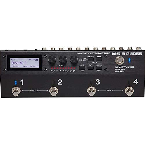 BOSS MS-3 Multi-Effekt-Switcher, Leistungsstarke Lösung zur Erstellung eines kompakten, professionellen Pedalboards & 112 interne Effekttypen für Gitarre und Bass, darunter Delays, Hall, Modulations