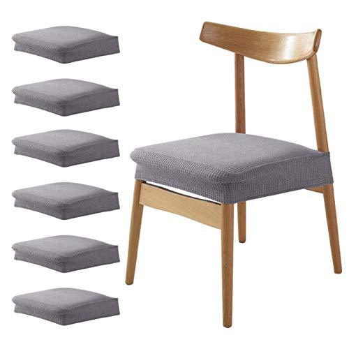 DELITLS 6 unids/set asiento sólido impermeable Jacquard Stretch Slipcovers comedor silla cubre