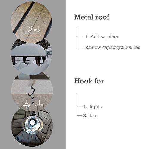 Kozyard Rosana Hardtop Aluminum Permanent Gazebo with 2-Layer Sidewalls (10ftx12ft)