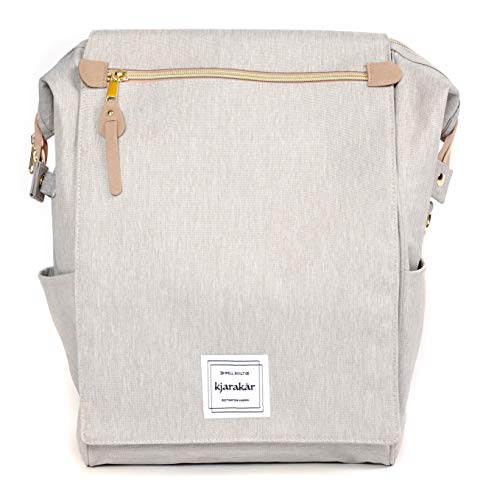 KJARAKÄR Classic Casual Backpack | Metal Zippers |Flexible Design for Gym Work School Diaper Bookbag