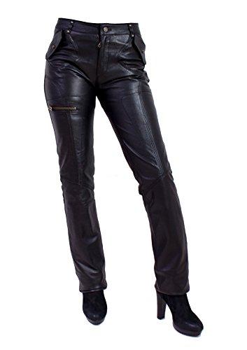Unbekannt Piri Damen Lederhose aus echtem Lamm Nappa Leder (Schwarz, L)